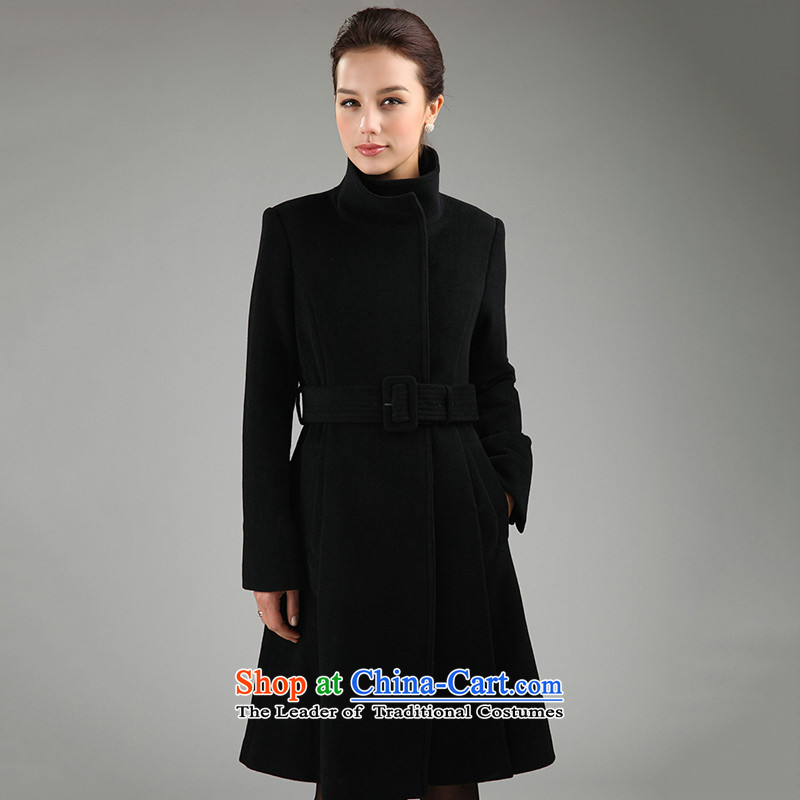 In collar thick long wool coat girl child Jenny? coats of autumn and winter uniform clothing attire YF01097 coats black燤