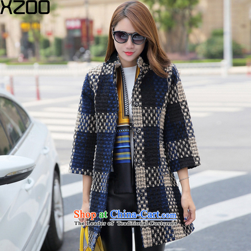 Gross coats women XZOO2015? In winter coats korea long wool? Boxed new children dark blue燲L