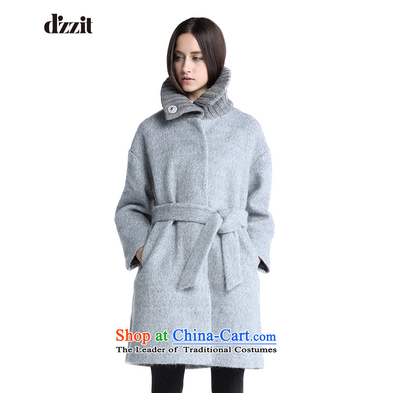 In winter, of d'zzit knitting collar in a straight long strap woolen coat 354G289 middle gray 155XS