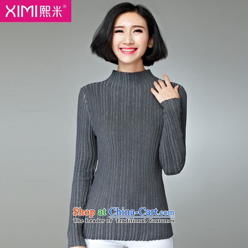 Hee-M 2015 autumn and winter new products to increase women's code, Hin fat mm thick, thin, forming new long-sleeved sweater shirt thick sister Sau San Ladies Sandals Gray 2XL