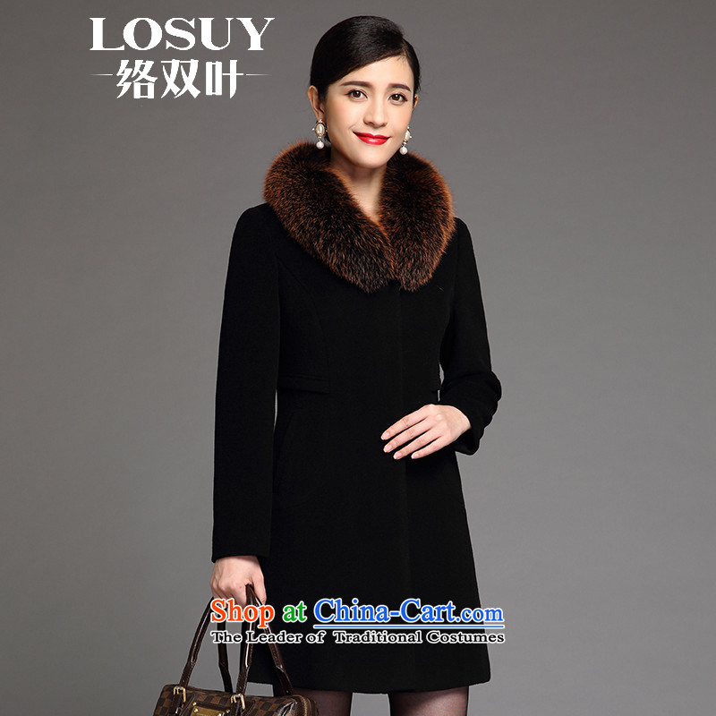 Contact Us dual leaf gross? coats female new 2015 winter coats wool sweater cashmere women in long? high-end gross for black fox�L
