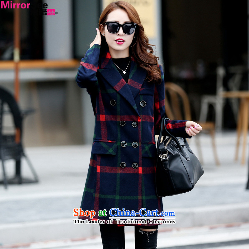 M 2015 winter new contragate stylish loose Korean Sau San a wool coat girl in long Grid Wind Jacket gross? Navy燤