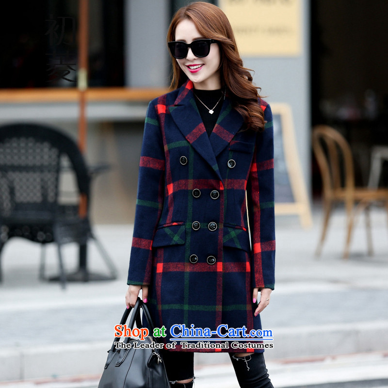 The early 2015 winter clothing new diamond for women so gross jacket Korean Sau San Box long double-a suit coats navy燲XL