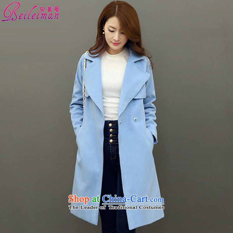 Pele Cayman 2015 winter new gross girls jacket? Long Korean coats thin solid color graphics   Blue?L