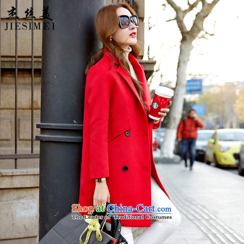 Cheng Kejie was US Women�15 new coats autumn and winter in thick long coats jacket gross? female Korean version of Sau San a wool coat female RED燤