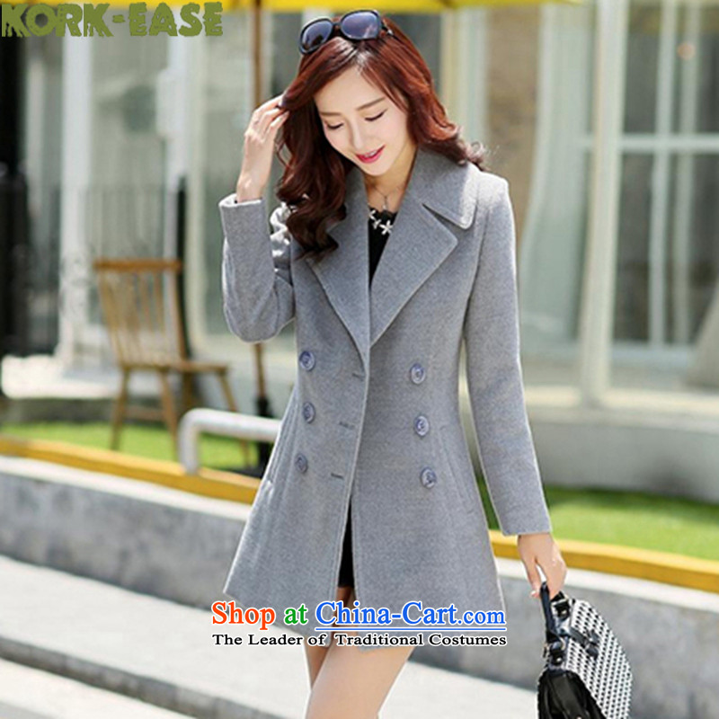 Kork-ease_?? new coats female autumn and winter coats female Korean gross? long version of this long jacket for women on the new 1568 gray winter燲XL
