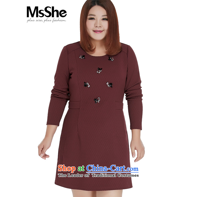 Large msshe women 2015 new winter clothing thick sister retro nails dresses in the Pearl River Delta long 10698 BOURDEAUX�L Sau San