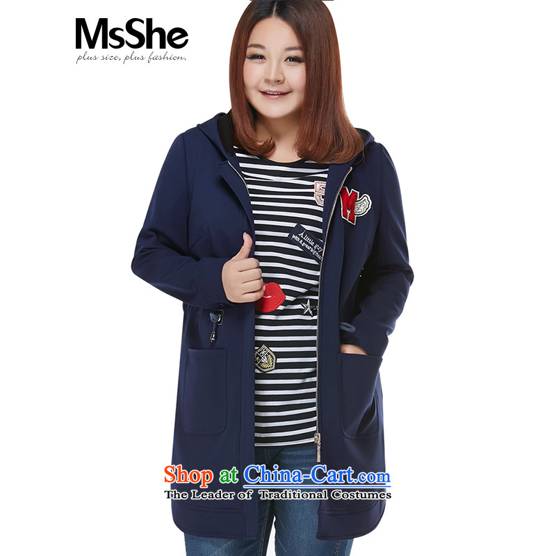 Msshe xl women 2015 new winter clothing thick MM plus lint-free warm zipper hat jacket thickness pre-sale 10863 blue 4XL- pre-sale to arrive at 12.10