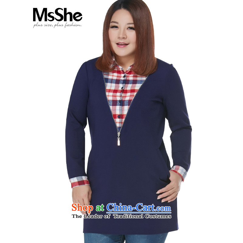 Msshe xl women 2015 new winter clothing 200 catties stitching grid long skirt shirt, long pre-sale 10856 blue 2XL- pre-sale to arrive on 10 December