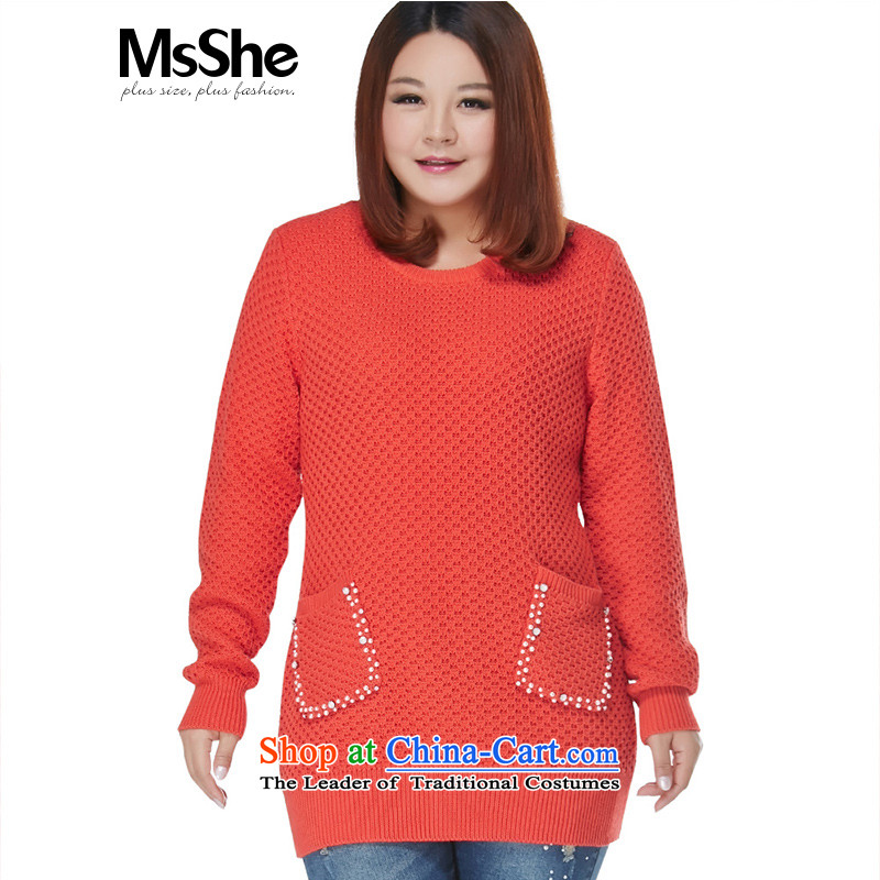 Msshe xl women 2015 new winter clothing thick sister nail-ju woolen sweater in 8421 Long Thick Orange 2XL