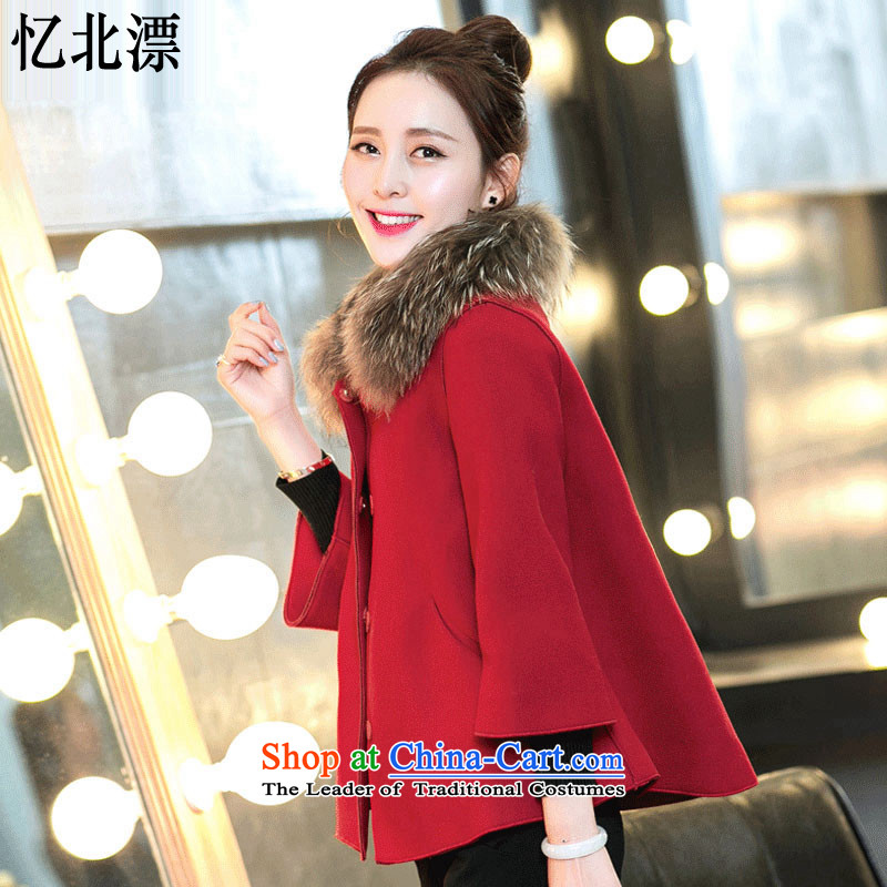 Recalling that the 2015 Winter North drift-new Korean small incense wind-thick cloak a coat of long-sleeved shawl short hair? female 3329 red cloak XL