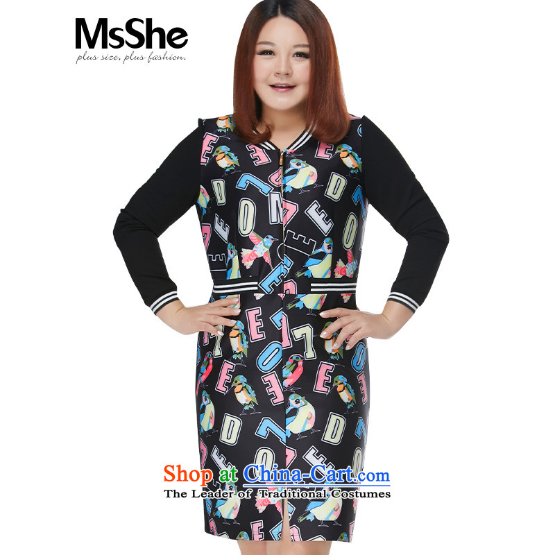 Msshe xl women 2015 new winter clothing thick sister stylish stamp ribbed collar he skirt 10,712 Stamp 3XL black