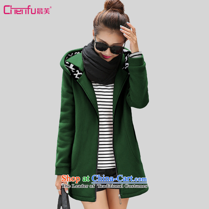 Morning to 2015 winter large new women's Hoodie thick MM Plus Adjustable hood thick wool sweater video thin jacket for Sau San dark green聽XL聽recommendations 120-130 catty