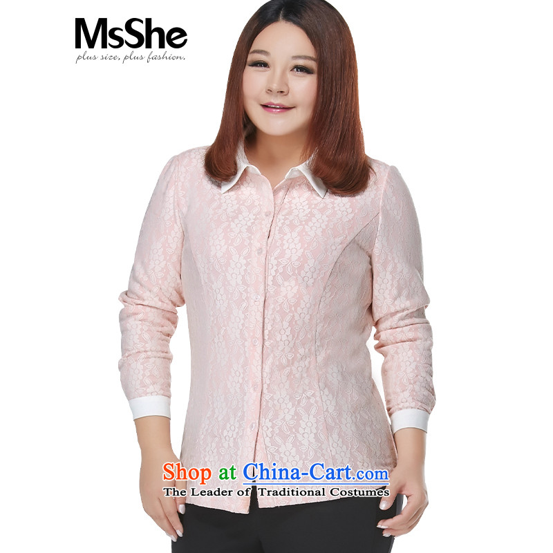 Msshe xl women 2015 new winter clothing 200 catties lapel composite lace long-sleeved shirt 11078 pink�L