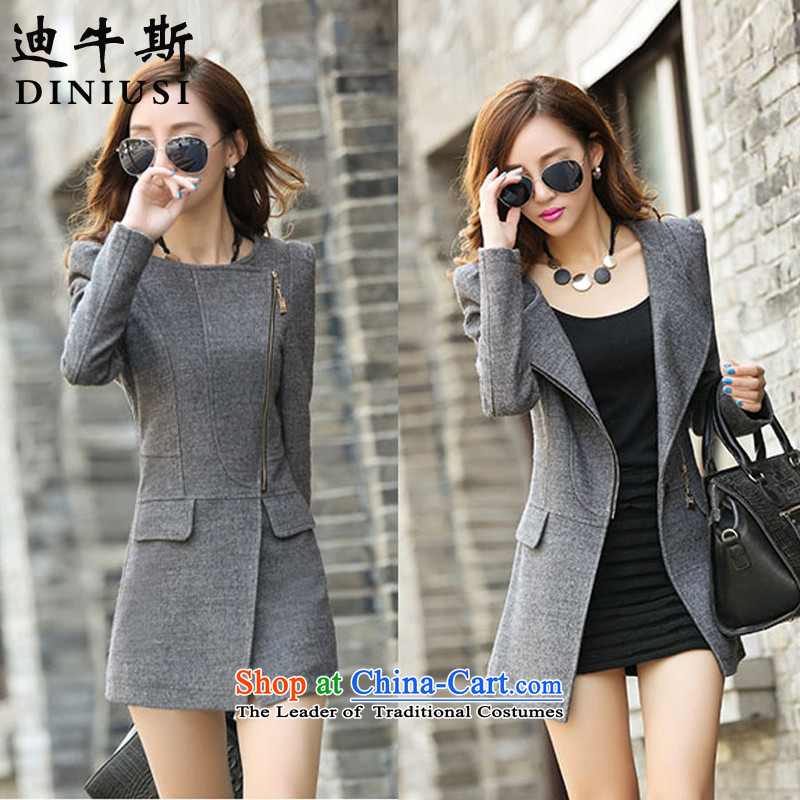 The achievement of the 2015 autumn and winter new Western big medium to long term, Sau San? The coats gray S