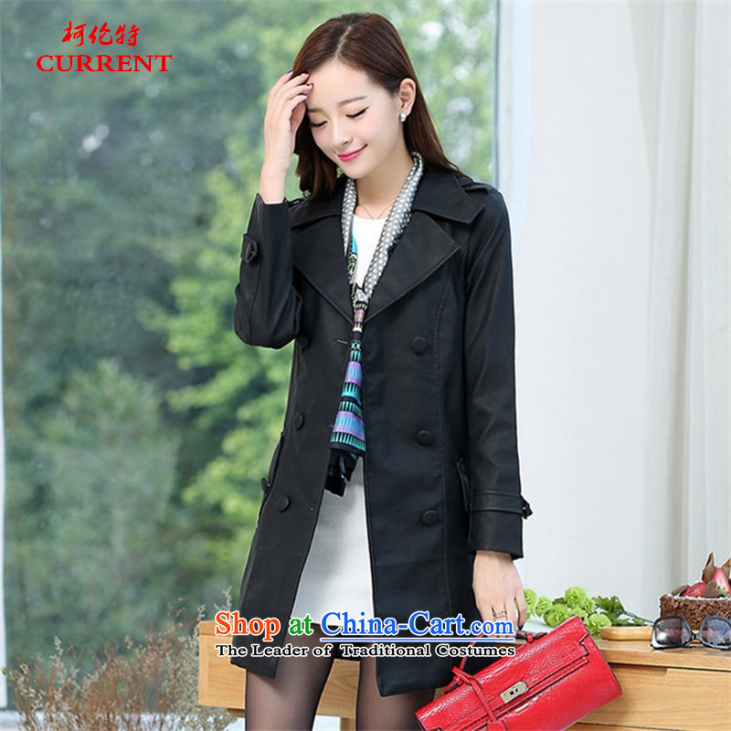 Curran AD 2015 autumn and winter Ms. New PU Yi stylish ultra thin video   High-end in large long washable Imitated leather wind jacket J1569 black聽XL_120-140 catty_