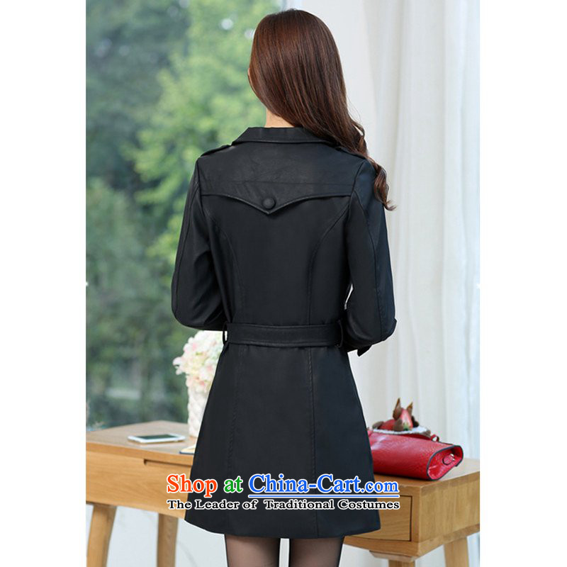 Curran ad 2015 autumn and winter Ms. New PU Yi stylish ultra thin video   High-end in large long washable Imitated leather wind jacket J1569 XL(120-140 black) Curran the catty (current) , , , shopping on the Internet