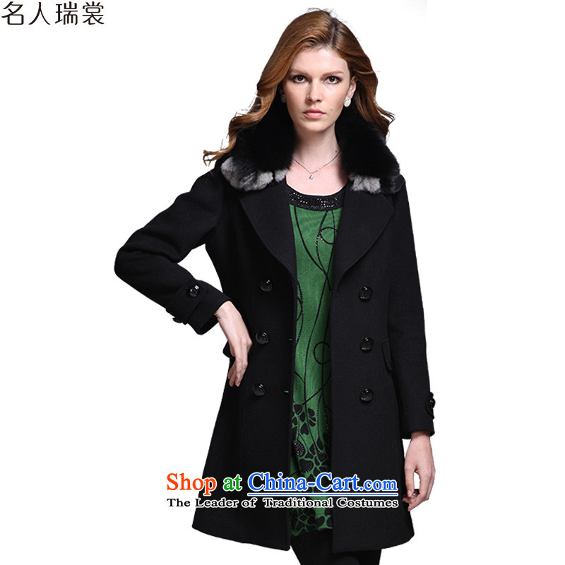 Celebrity, advisory autumn and winter new fox gross for double-wool coat of Sau San? version larger Korea gross black jacket? XXL