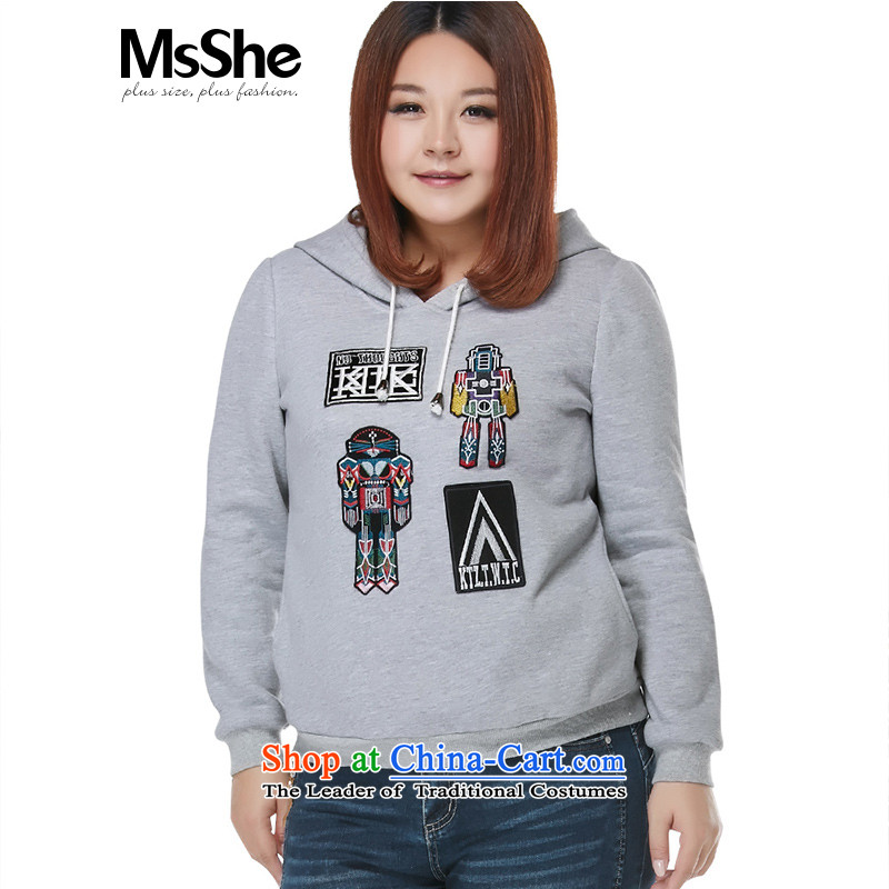 Large msshe women 2015 new autumn and winter casual sports embroidered cap sweater 200 catties thick 10826 Gray�L
