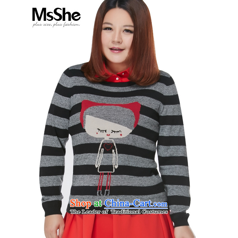 To increase the number msshe women 2015 New Fall_Winter Collections thick MM jacquard sweater pullovers 10642 black and gray�L