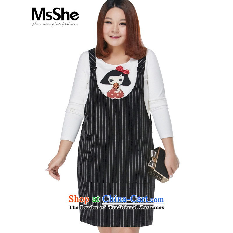 Large msshe women 2015 New Fat MM autumn and winter sweet air-t-shirt with two-piece set with skirt 10503 black and white,�L