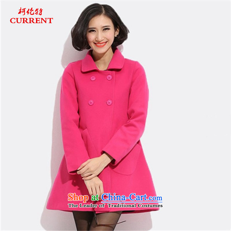 Curran ad winter clothing new xl women in Europe and the coat is gross long thin hair? jacket graphics Sau San long-sleeved lapel a windbreaker?J5918??XL_120-140 red coal_.
