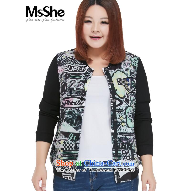 Msshe xl women 2015 new winter clothing thick MM stylish casual baseball shirt thick stamp jacket 10505 Black5XL green