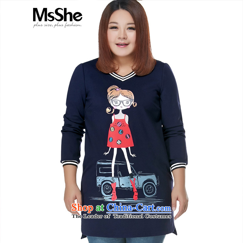 Msshe xl women 2015 new winter clothing ribbed V-neck in the stitching cartoon stamp thick MM skirt shirt pre-sale 10711 blue�L- pre-sale to arrive at 12.10