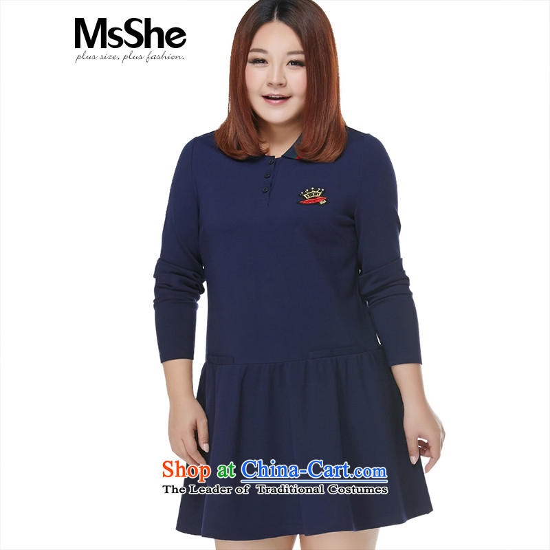 Msshe xl women 2015 New Fall_Winter Collections thick MM leisure preppy lapel dresses pre-sale 10713 blue�L- pre-sale to arrive on 10 December