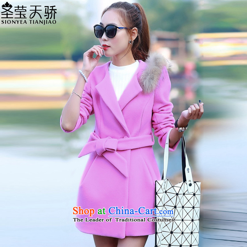 The holy day average 2015 Ying autumn and winter new women's Korea Edition Video thin hair so Sau San jacket female S588 pink燤