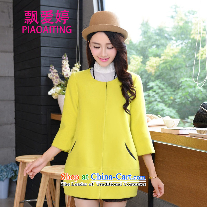 Piao Love Ting�15 autumn the new Korean version of the new video thin 7 to the Sau San cuff conventional_? a wool coat gross? jacket female bright yellow燤
