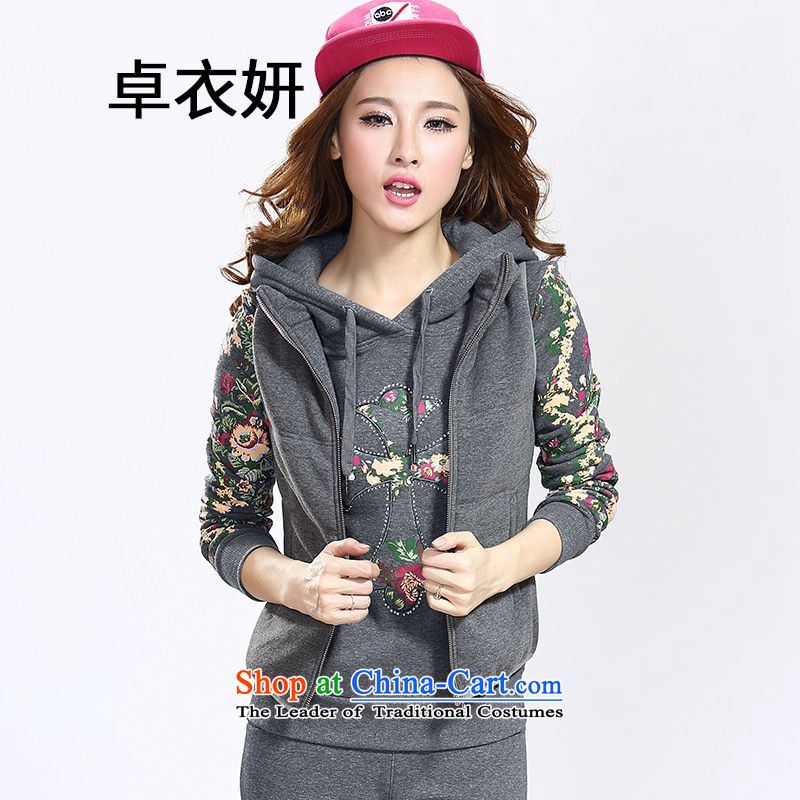 1476#2015 autumn and winter thick sweater three piece won version plus large-Sau San Leisure Sports Suits stylish women carbon L
