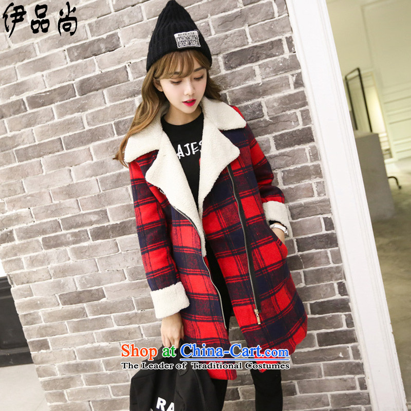 El products are gross? 2015 autumn and winter coats girl with the new Korean a wool coat female graphics in a compartment thin long large roll collar Lamb Wool thick cotton jacket RED M Folder