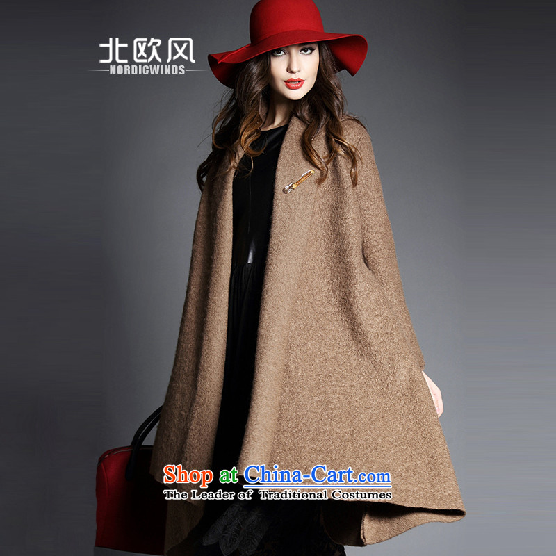 The Nordic wind hair?2015 autumn and winter coats female new women's largest lapel pure color is not under the rules of long-sleeved cloak-jacket coat? female gross in long and Color Codes
