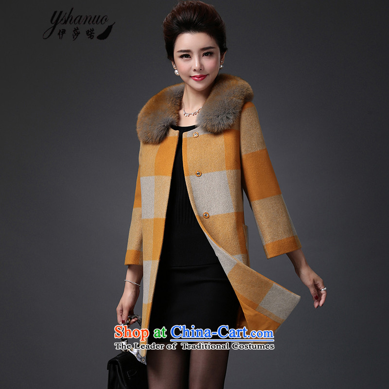 Isabel La Carconte 2015 new winter_ Elegant graphics thin fox woolen coat in the gross for long grid? female YS151507 gross yellow jacket燣
