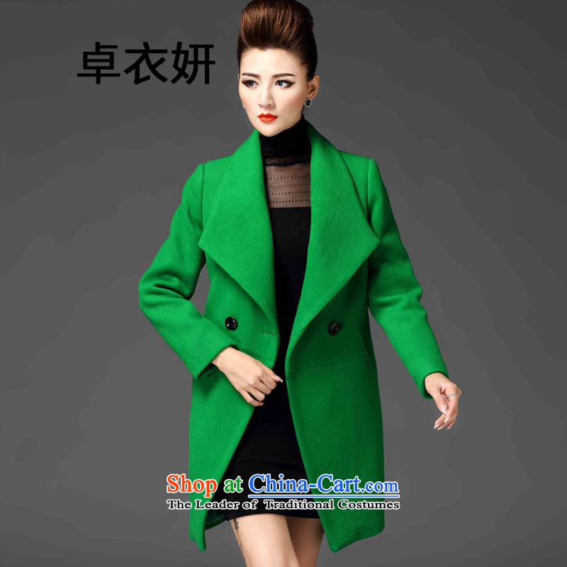 Gross new 1478_2015? a wool coat female jacket thick girl who roll collar in decorated long coats female green燲L