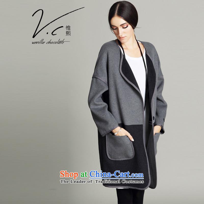 Korehiro Europe V.C original long double-sided female 2015 gross? coats winter big stitching wool coat in sub-ni GrayL