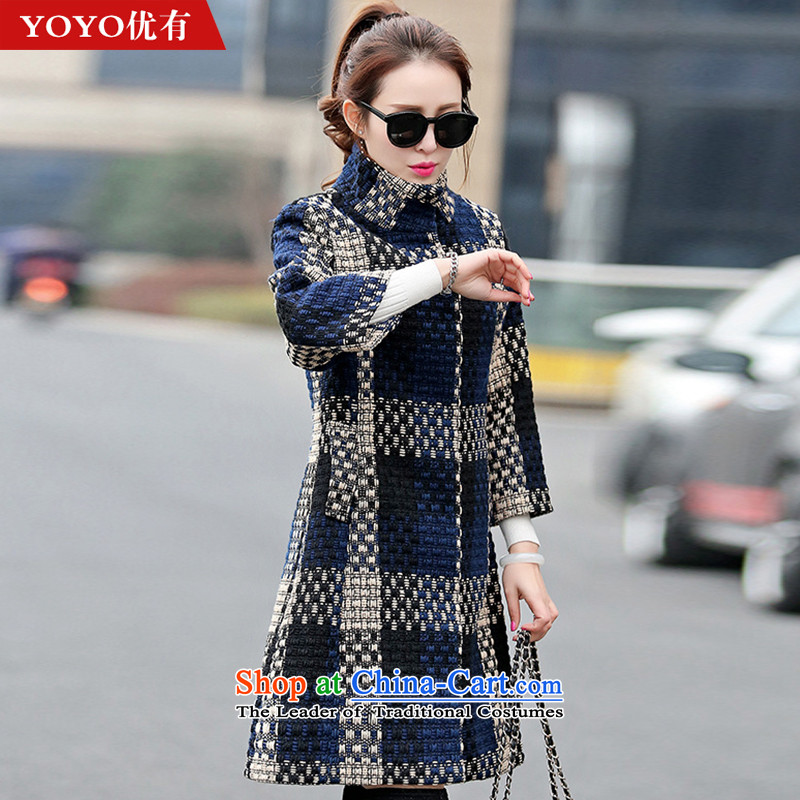 The YOYO optimization with 2015 Winter Sweater Knit stylish new grid coarse wool terylene V1708 jacket picture color聽XL