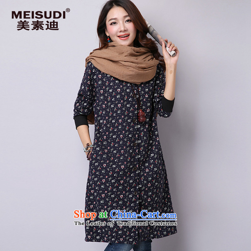 2015 Autumn and Winter Korea MEISUDI version of large numbers of ladies literary and artistic floral loose video in thin long cotton waffle long-sleeve sweater folder dark blue燲XL