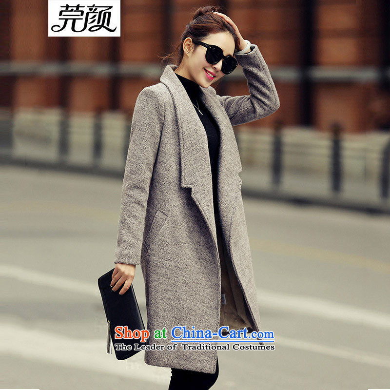 Easy to Mr NGAN gross coats female jacket in this long and lint-free Korean version of     thick straight winter clothing for larger women a wool coat Gray plus lint-free_聽M