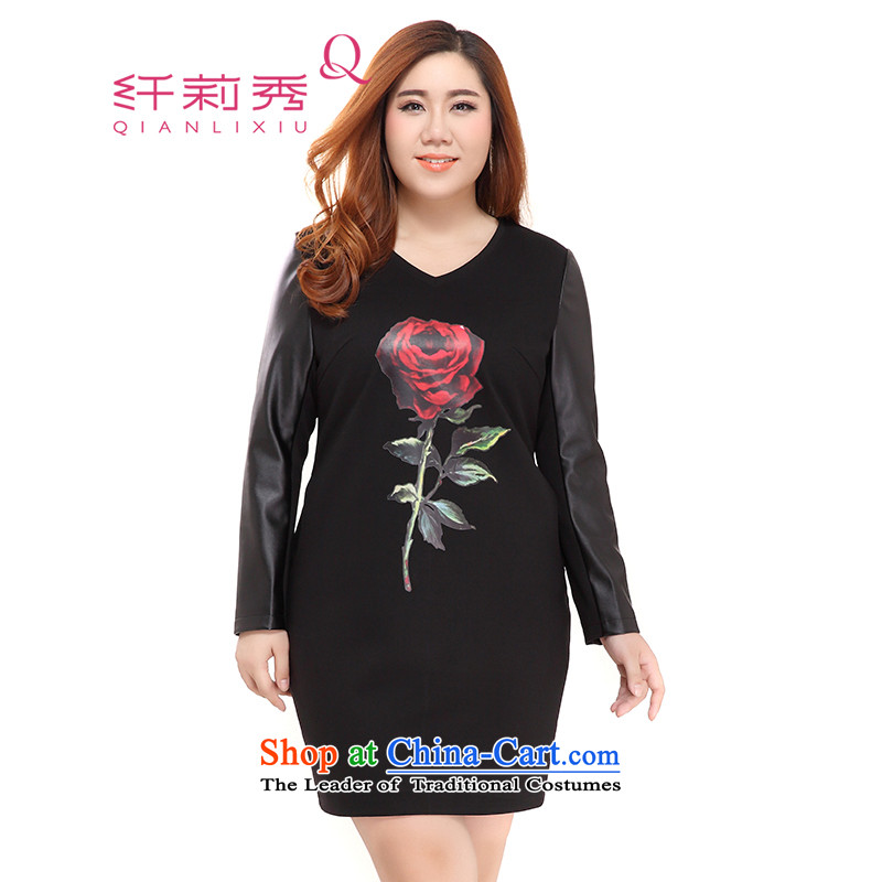 The former Yugoslavia Li Sau 2015 Fall_Winter Collections new larger female V-Neck PU stitching rose stamp long-sleeved dresses�35燘lack燲L