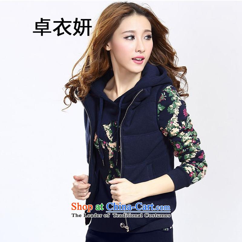 1476_2015 autumn and winter new Korean Sau San plus large plush sweater kits stylish women dark blue燣