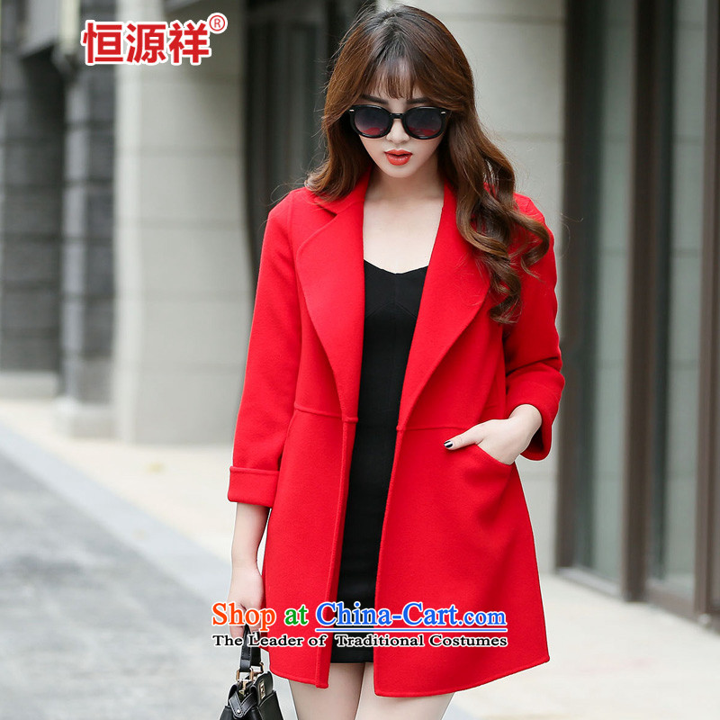 Ms. Cheung Hengyuan gross? long coats that Korean jacket 2015 autumn and winter coats new double-side RED?M