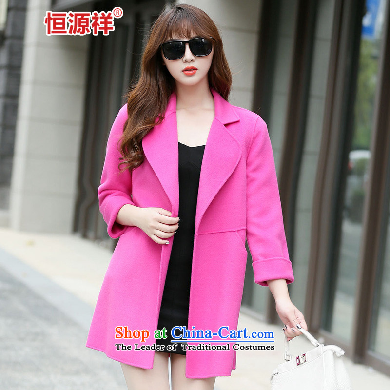 Ms. Cheung Hengyuan gross? long coats that Korean jacket 2015 autumn and winter coats new double-side of west red?L