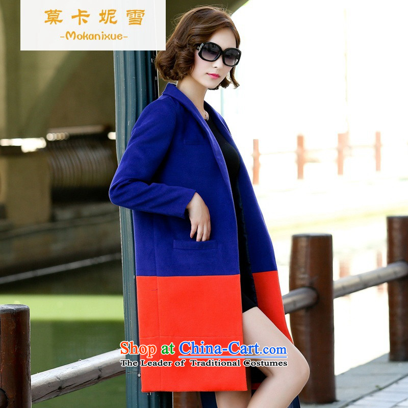 Morcar Connie snow 2015 Fall_Winter Collections of the new version of the greater number of Korean champs elysees wind a wool coat thin hair? Graphics Sau San jacket, long blue?M