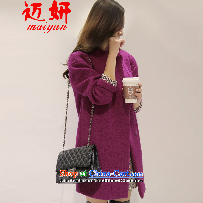Michael Eon 2015 Fall_Winter Collections Korean version of large numbers in the Liberal Women's Long cocoon line gross female winter wool coat?? The purple coat燤