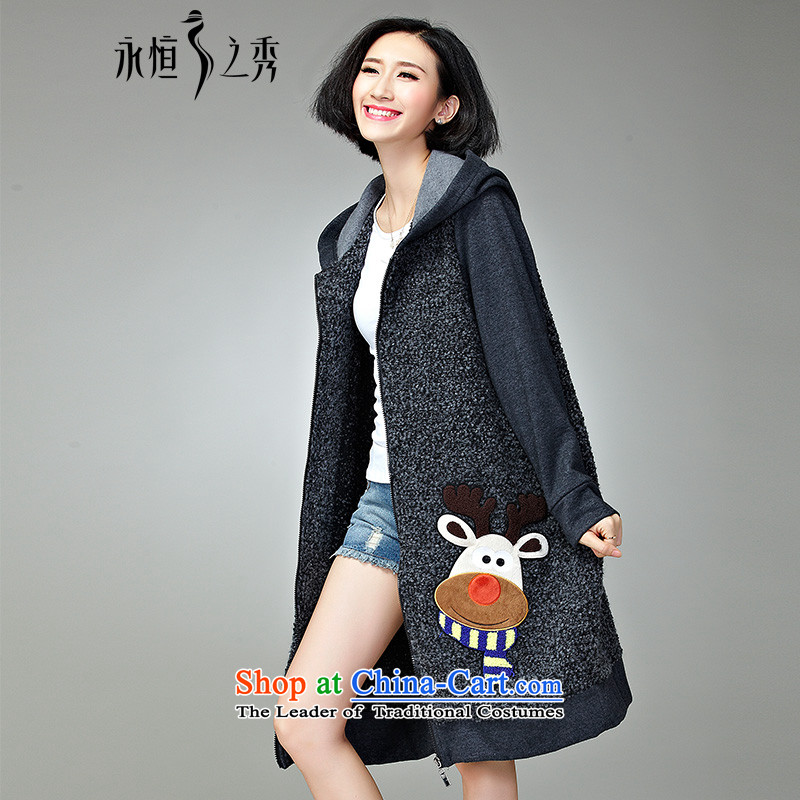 2015 MM to thick xl girl in autumn and winter jackets long new 200 catties thick Korean version of SISTER new flower gray _pre-sale 7 day shipping_ 4XL