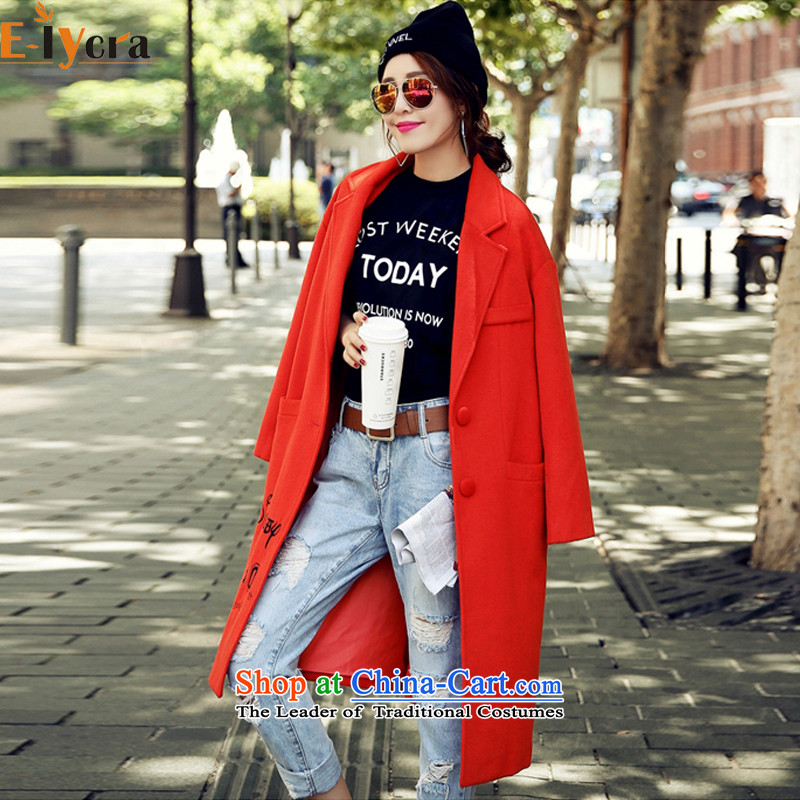 2015 Autumn and winter e-lycra new Korean small dog pattern letters in long hair embroidery? red jacket燲XL