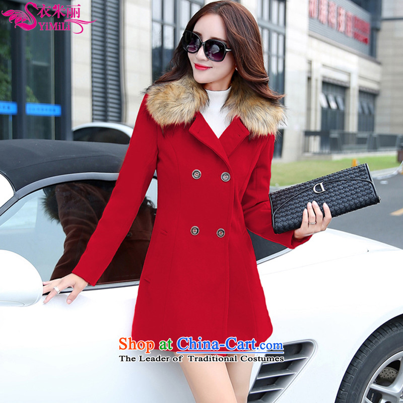 Yi Millies 2015 autumn and winter new Korean warranty. Long-Nagymaros for Sau San a wool coat 8102 RED�    M