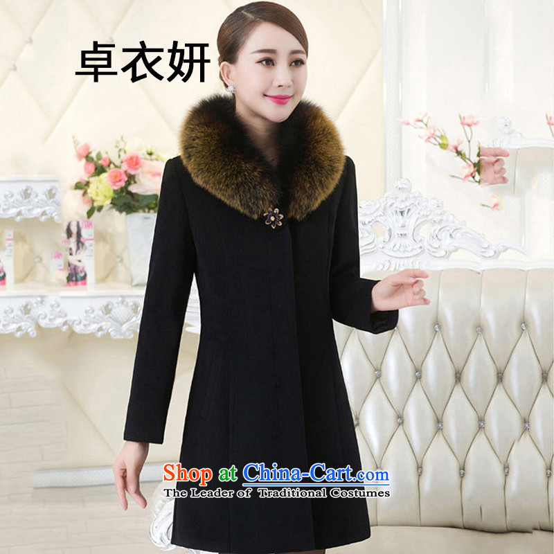 The autumn and winter 1483_2015 code of older women in coats of mother load gross jacket Black XL?
